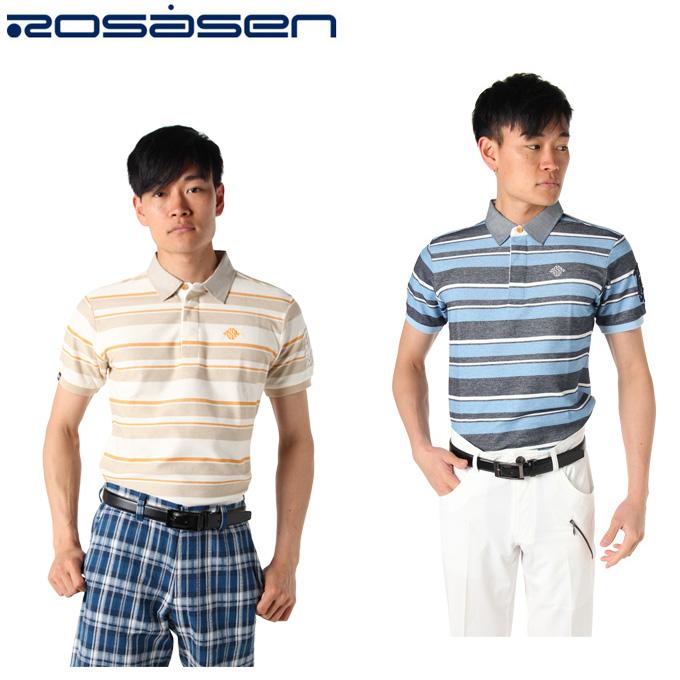 【3/25はクーポンで1000円引】 ロサーセン ROSASEN ゴルフウェア ポロシャツ 半袖 メンズ マルチボーダー 044-29245