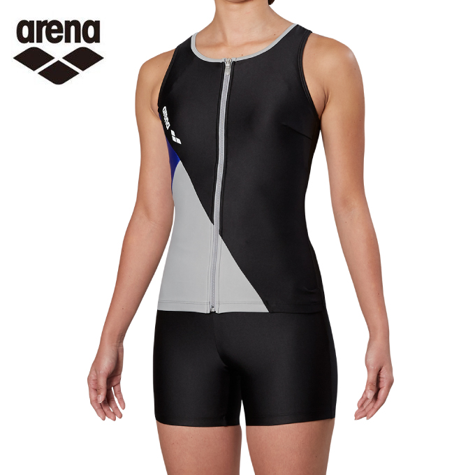 アリーナ arena フィットネス水着 セパレート レディース 大きめカラースナップ付きHASSUIセパレーツ ぴったりパッド FLA-9935W-BKGY
