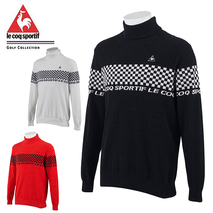 ルコック le coq sportif ゴルフウェア セーター メンズ ロゴチェッカーフラッグタートルネックインナーセーター QGMOJL07