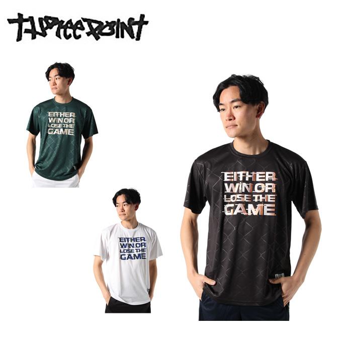 購入後レビュー記入でクーポンプレゼント中 バスケットボールウェア 半袖シャツ メンズ 在庫一掃売り切りセール TP570413J01 スリーポイント 日本産 ロゴ文字Tシャツ ThreePoint