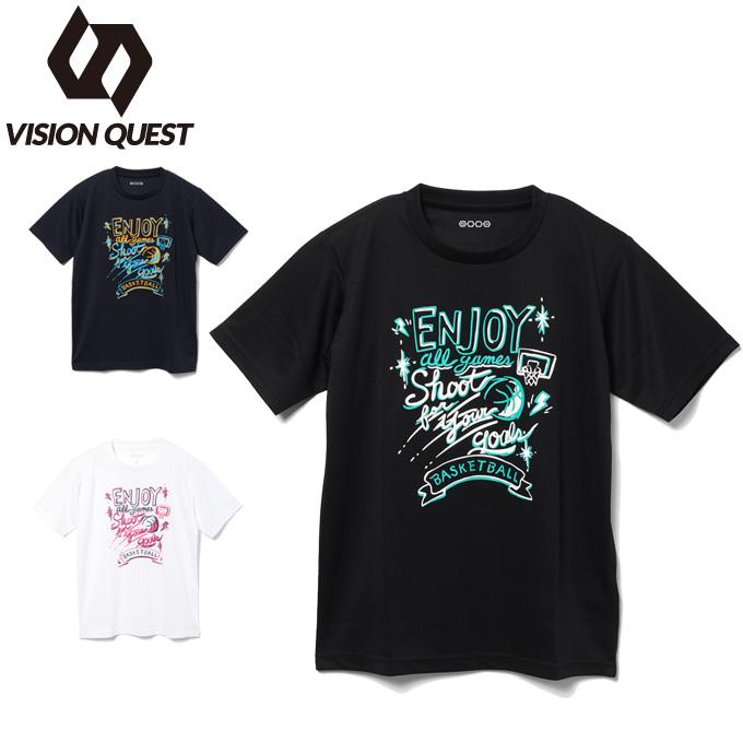 購入後レビュー記入でクーポンプレゼント中 バスケットボールウェア 半袖シャツ ジュニア バスケプリントTシャツ 割引も実施中 好評 ビジョンクエスト VQ570413J06 VISION QUEST