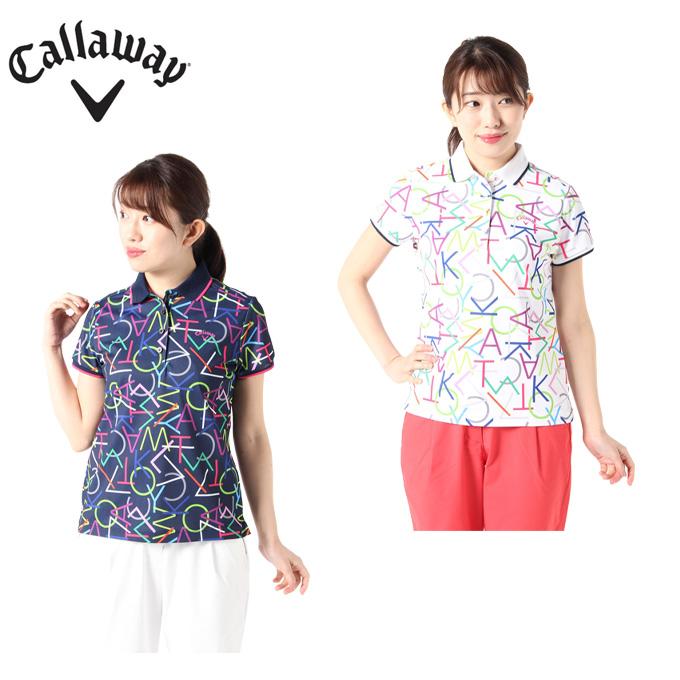 キャロウェイ ゴルフウェア ポロシャツ 半袖 レディース クールドライレタードプリント半袖シャツ 241-0134815 Callaway