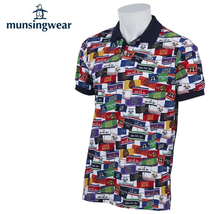 【3/25はクーポンで1000円引】 マンシング Munsingwear ゴルフウェア 半袖シャツ メンズ 総柄ラベルPT半袖シャツ MGMPJA19