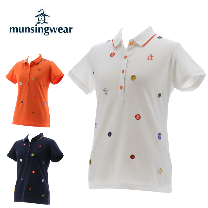 【エントリーで9倍 8/10~8/11まで】 マンシング Munsingwear ゴルフウェア ポロシャツ 半袖 レディース サンスクリーン鹿の子飛び刺繍半袖シャツ MGWPJA14