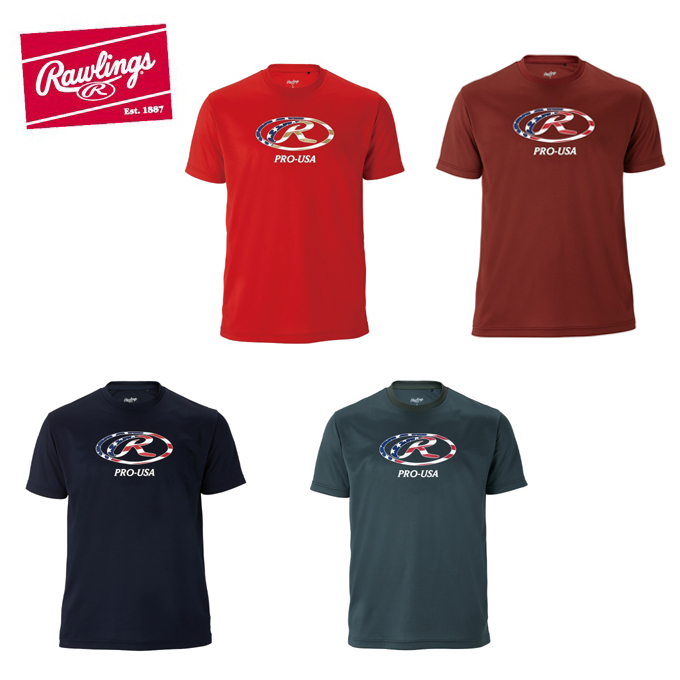 購入後レビュー記入でクーポンプレゼント中 ローリングス 期間限定今なら送料無料 Rawlings 野球ウェア 半袖Tシャツ レディース AST10F05 メンズ USAオーバルR Tシャツ 予約
