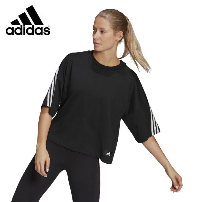 購入後レビュー記入でクーポンプレゼント中 アディダス Tシャツ 半袖 レディース フューチャー アイコンズ 3ストライプス Icons 60140 GN1837 Tee 卸売り Future 3 adidas Stripes 保証