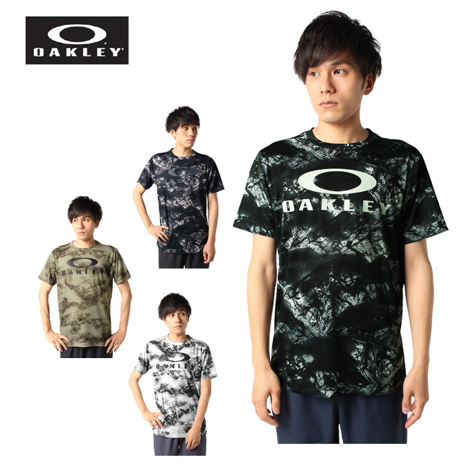 購入後レビュー記入でクーポンプレゼント中 オークリー Tシャツ 半袖 メンズ 新作入荷 QD EN FOA402423 OAKLEY 総柄グラフィック機能 激安セール