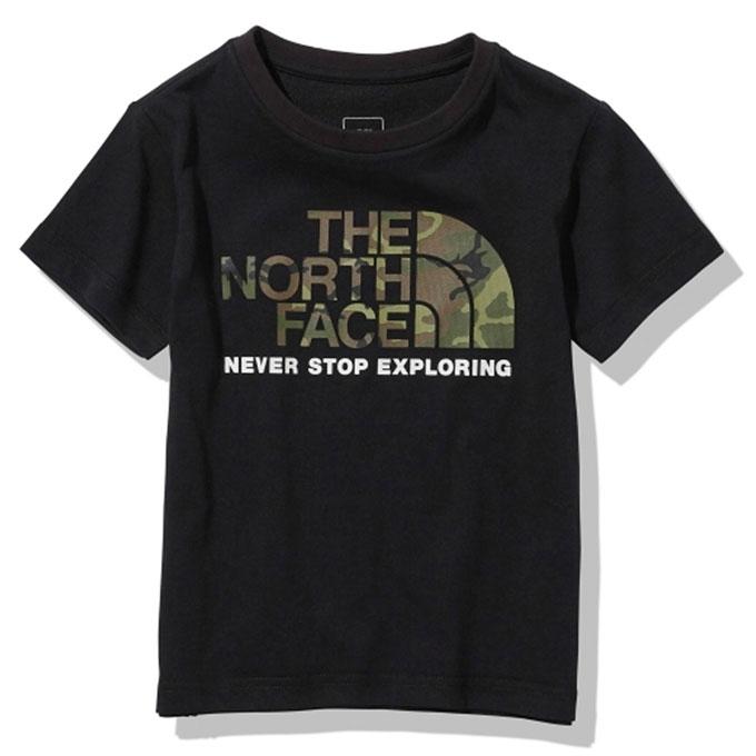 倉庫 購入後レビュー記入でクーポンプレゼント中 ノースフェイス 半袖シャツ ジュニア S Camo Logo THE FACE NORTH ショートスリーブカモロゴティー Tee NTJ32145 買い物 K