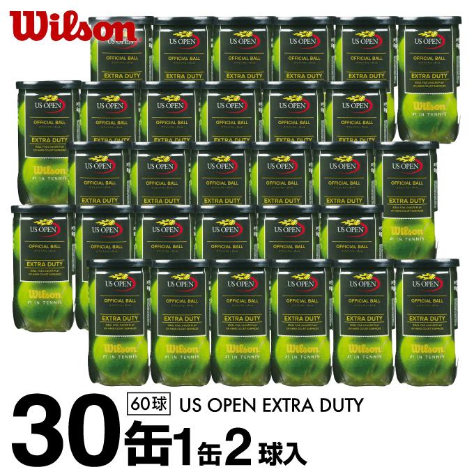 ウイルソン Wilson 硬式テニスボール セット US OPEN EXTRA DUTY ユー・エス・オープン・エクストラ・デューティー 1箱30缶/60球 1缶2球入り WRT1000J