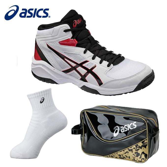 アシックス バスケットボール ジュニア DUNKSHOT MB 8 ダンクショット+ミドルソックス+エナメルシューズバッグ TBF139 0190+XAS856+EB039A asics