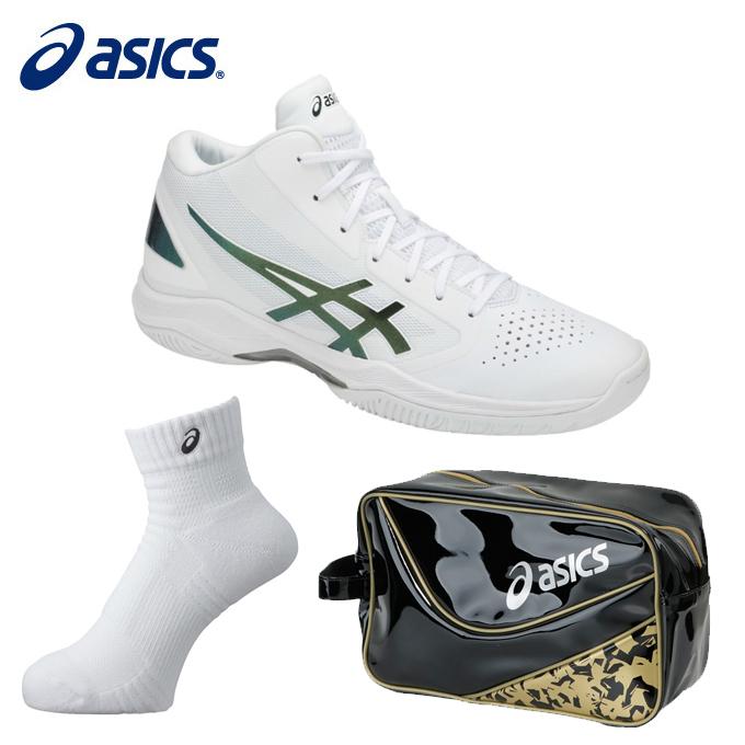 アシックス バスケットボール メンズ レディース GELHOOP V 10 ゲルフープV10+ソックス13+エナメルシューズバッグ TBF339-0186+XAS155+EB039A asics
