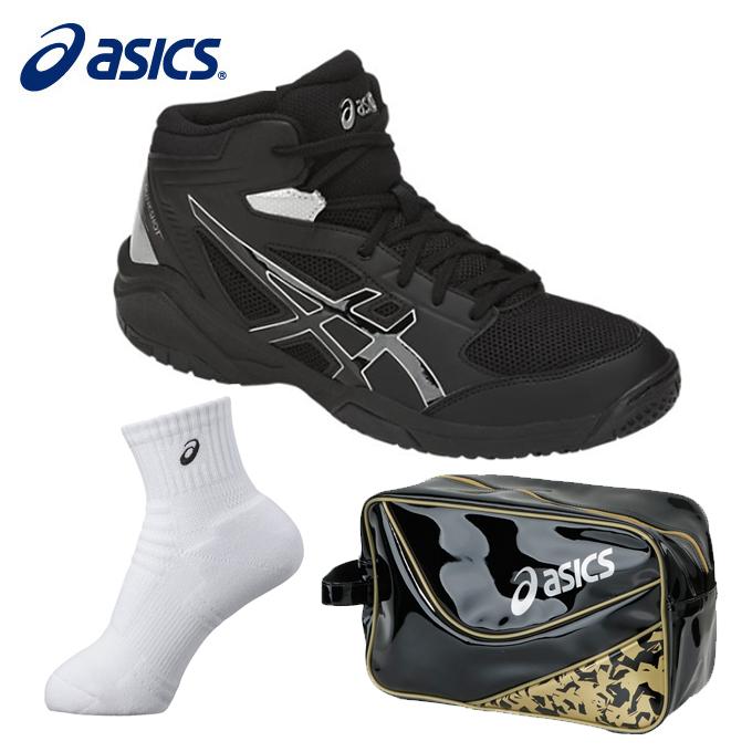 アシックス バスケットボール ジュニア DUNKSHOT MB 8 ダンクショット+ミドルソックス+エナメルシューズバッグ TBF139 9090+XAS856+EB039A asics