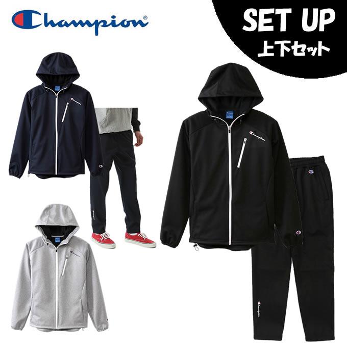 チャンピオン Champion スポーツウェア上下セット メンズ ジップフードジャケット TRAINING + ロングパンツ 秋冬新作 TRAINING C3-NS125 + C3-NS222