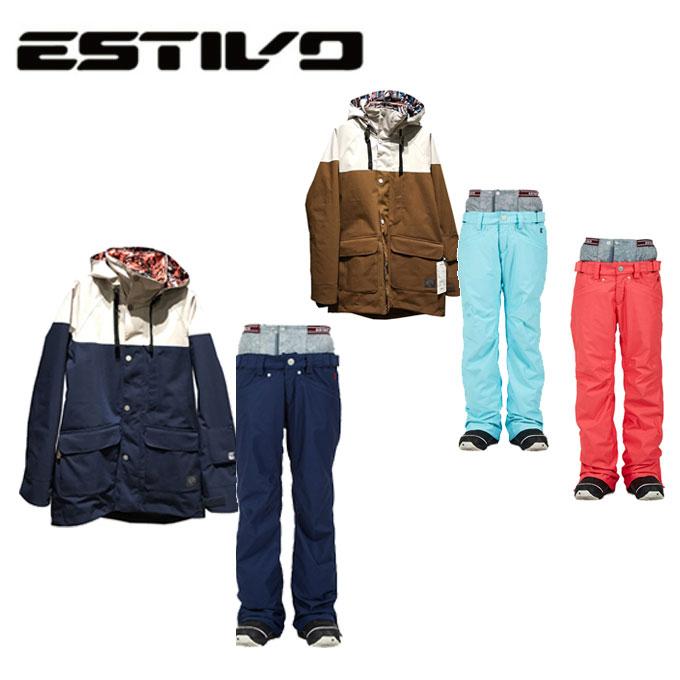 エスティボ ESTIVO スノーボードウェア 上下セット レディース SNB JK + MELLOW PNT メロウパンツ EVW1834 + EVW3825