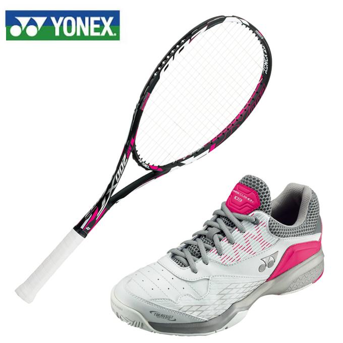 ヨネックス ソフトテニスラケット セット 張り上げ済み レディース マッスルパワー200XF + パワークッション103 ラケット + テニスシューズ オムニクレー YONEX