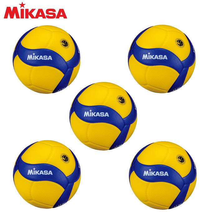 【ポイント5倍 10/17 8:59まで】 ミカサ MIKASA バレーボール 国際公認球 検定球5号×5個セット V300W