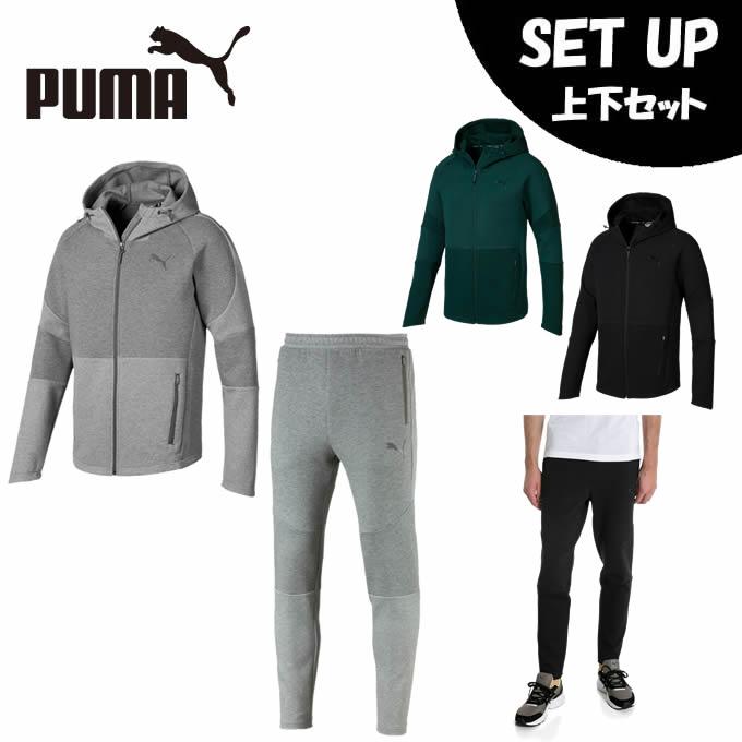 プーマ スポーツウェア上下セット メンズ EVOSTRIPE フーデッドジャケット + EVOSTRIPE パンツ 844147 + 844149 PUMA