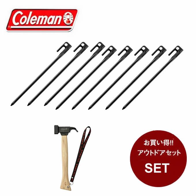 コールマン 金属ハンマー P/Mスチールヘッドハンマー2 + スチールソリッドペグ30cm/1PC×8個 2000012872 + 2000017188 Coleman