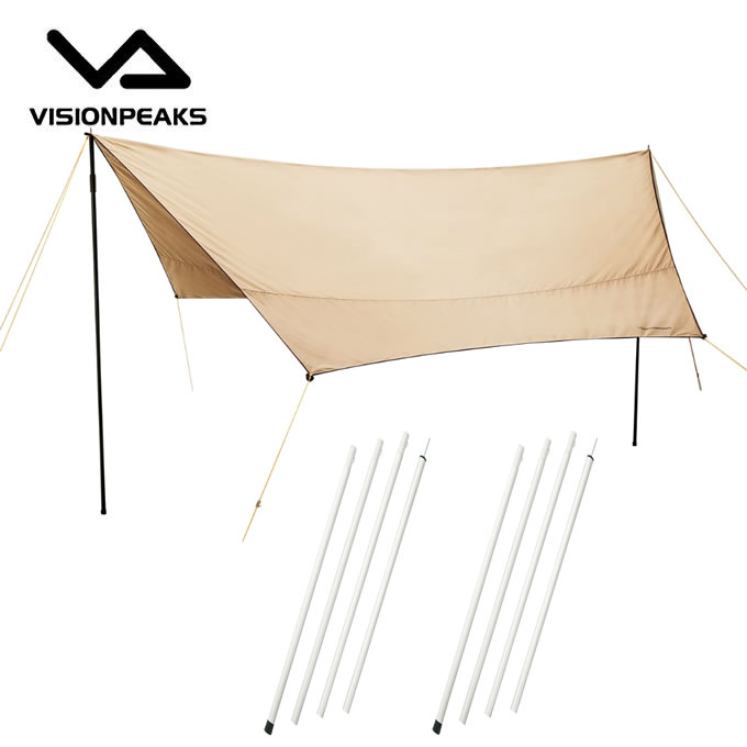ビジョンピークス VISIONPEAKS タープ セット ファイアプレイス TC ヘキサタープ + アルミポール (120/180/240) 2点 VP160202F01+VP160305F01