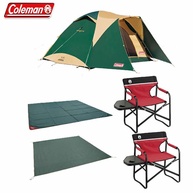 コールマン テント アウトドアチェア タフワイドドームIV/300 スタートパッケージ+サイドテーブルデッキチェアST レッド 2000031859+2000017005 Coleman