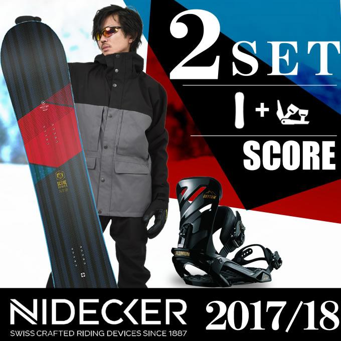 スノーボード 2点セット メンズ NIDECKER ニデッカー SCORE+RHYTHM BK ボード+ビンディング