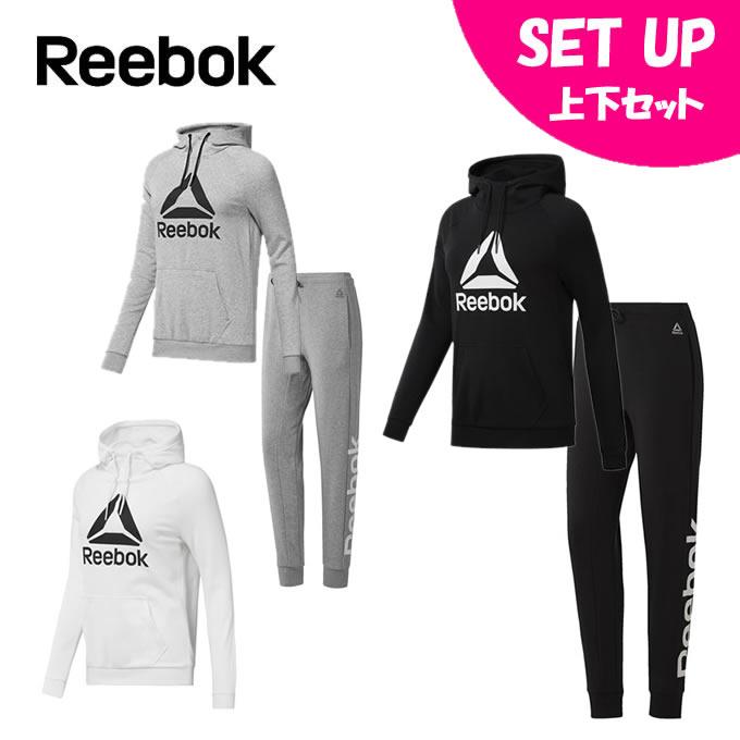 リーボック Reebok トレーニングウェア上下セット レディース WOR ロゴ スウェット EET16 + EET05