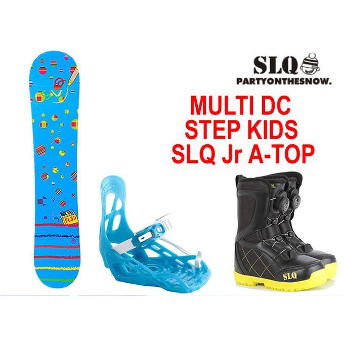 【クーポン利用で1000円引 11/18 23:59まで】 スノーボード 3点セット ジュニア エスエルキュー SLQ MULTI DC+STEP KIDS+SLQ Jr A-TOP ボード+ビンディング+ブーツ