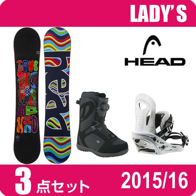 スノーボード 3点セット レディース ヘッド HEAD PEARL FLOCKA H+PR WH+GALORE PRO BOA ボード+ビンディング+ブーツ