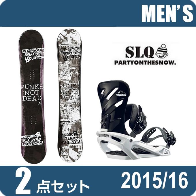 スノーボード 2点セット メンズ エスエルキュー SLQ PUNK ROCKER+RHYTHM BK/WH ボード+ビンディング