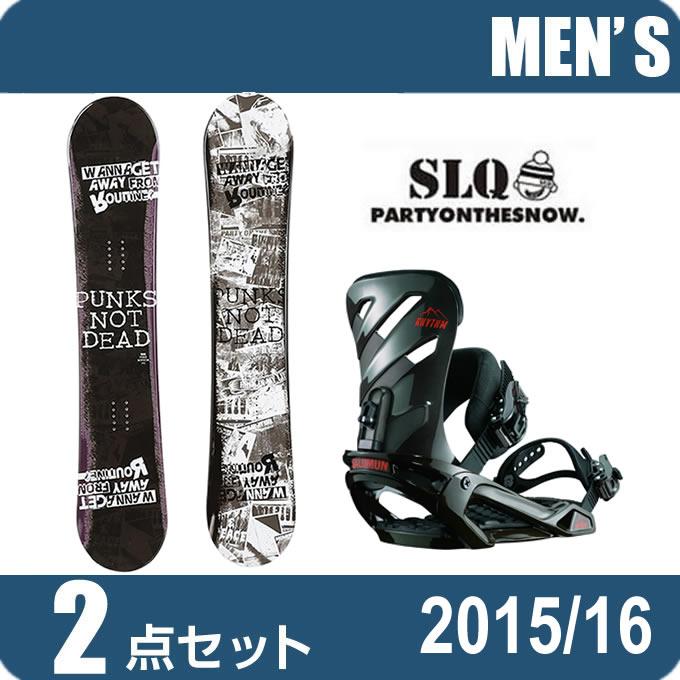 スノーボード 2点セット メンズ エスエルキュー SLQ PUNK ROCKER+RHYTHM AR/BK ボード+ビンディング