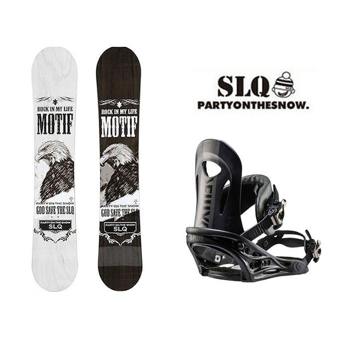 スノーボード 2点セット メンズ エスエルキュー SLQ MOTIF DC+PR BK ボード+ビンディング