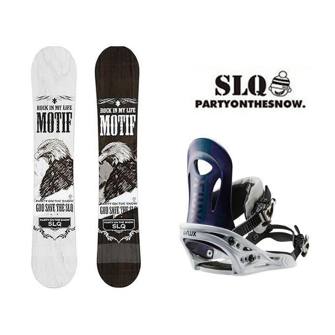 スノーボード 2点セット メンズ エスエルキュー SLQ MOTIF DC+PR NV ボード+ビンディング