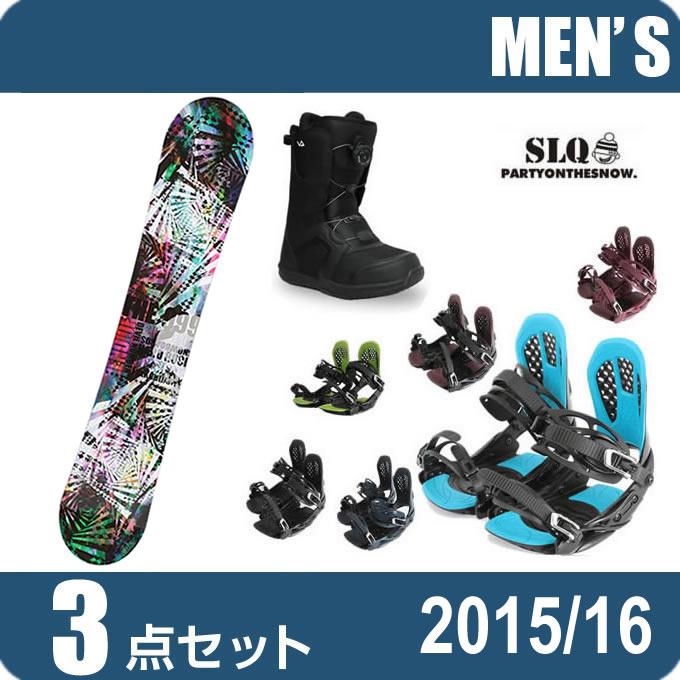 スノーボード 3点セット メンズ エスエルキュー SLQ  SLYER DC+AXEL 2+SUPERB ボード+ビンディング+ブーツ