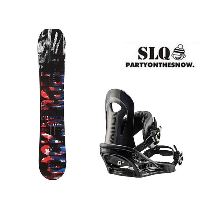スノーボード 2点セット メンズ エスエルキュー SLQ SCOOP FLAT+PR BK ボード+ビンディング