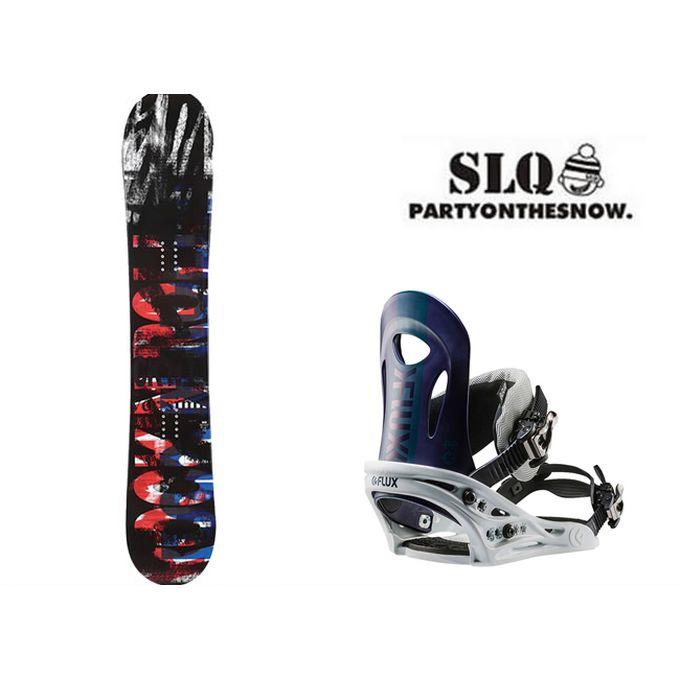 【クーポン利用で1000円引 11/18 23:59まで】 スノーボード 2点セット メンズ エスエルキュー SLQ SCOOP FLAT+PR NV ボード+ビンディング