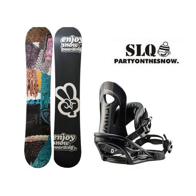 スノーボード 2点セット レディース エスエルキュー SLQ KNITTING FLAT+PR BK ボード+ビンディング