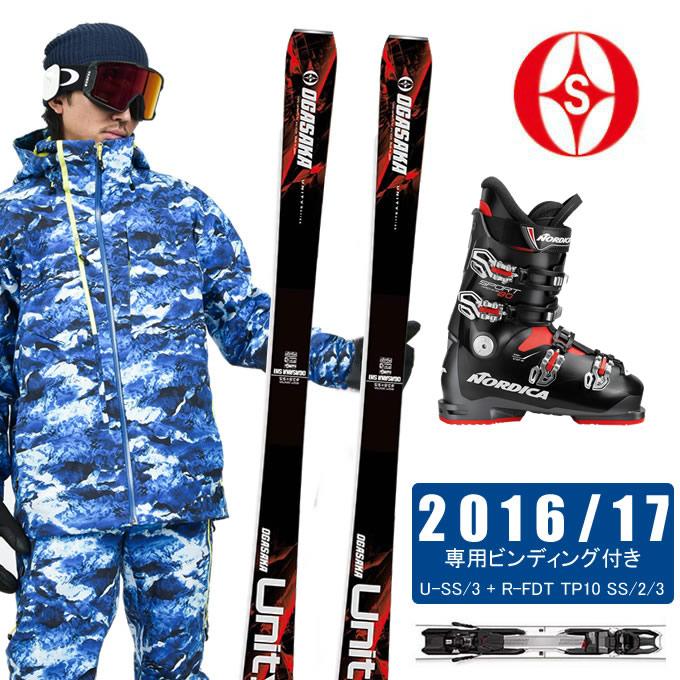 オガサカ OGASAKA スキー板 3点セット メンズ UNITY U-SS/3 + FDT TP10 SS/2/3 + SPORTMACHINE 80 スキー板+ビンディング+ブーツ