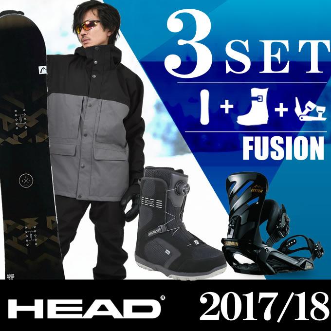 スノーボード 3点セット メンズ ヘッド HEAD FUSION FLOCKA+RHYTHM BK+SCOUT PRO BOA ボード+ビンディング+ブーツ