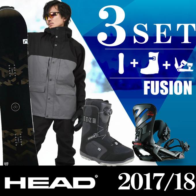 スノーボード 3点セット メンズ ヘッド HEAD FUSION FLOCKA+RHYTHM AR/BK+SCOUT PRO BOA ボード+ビンディング+ブーツ