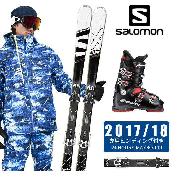サロモン salomon スキー板 3点セット メンズ 24 HOURS MAX+XT10 + SPORTMACHINE 80 ANTBKRD スキー板+ビンディング+ブーツ