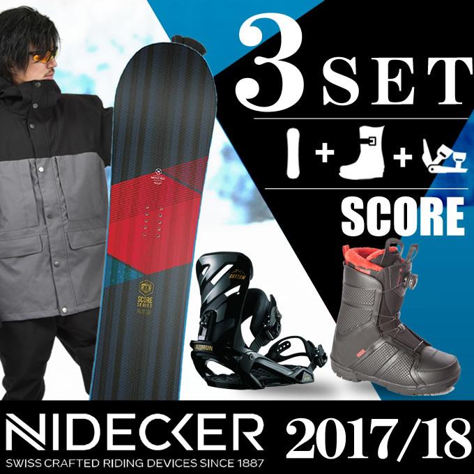 スノーボード 3点セット メンズ NIDECKER ニデッカー SCORE+RHYTHM BK+TRANCEFER BOA BK ボード+ビンディング+ブーツ