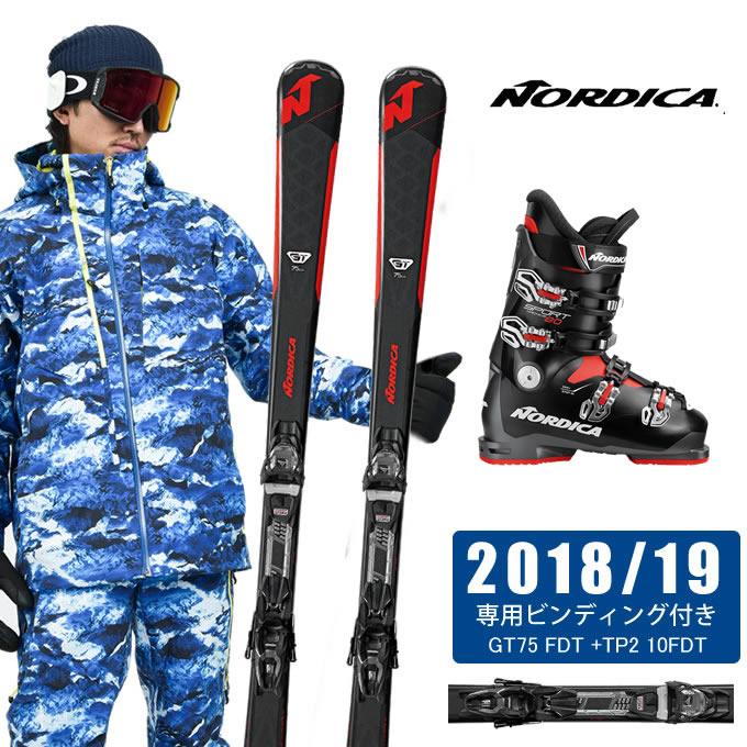 【ポイント3倍 10/11 8:59まで】 ノルディカ NORDICA スキー板 3点セット メンズ GT75 FDT + TP2 10FDT + SPORTMACHINE 80 ANTBKRD スキー板+ビンディング+ブーツ