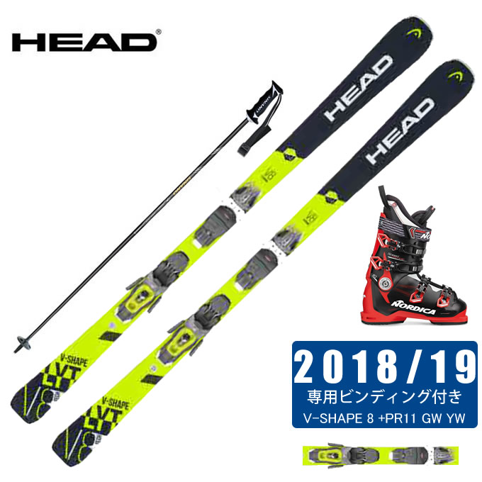 ヘッド HEAD スキー板 4点セット メンズ V-SHAPE 8 +PR11 GW YW + SPEEDMACHINE 110 + CX-FALCON