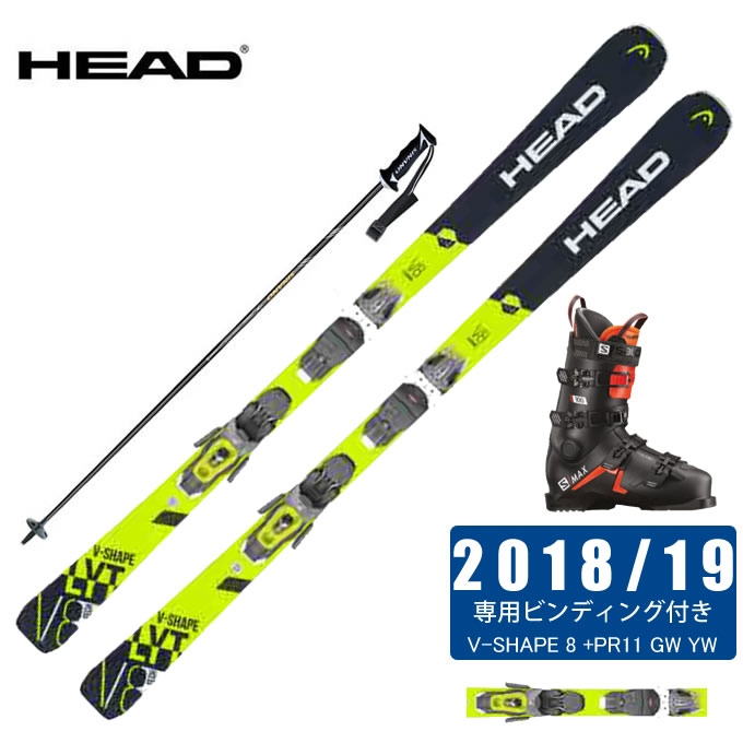 ヘッド HEAD スキー板 4点セット メンズ V-SHAPE 8 +PR11 GW YW + S/MAX 100 + CX-FALCON