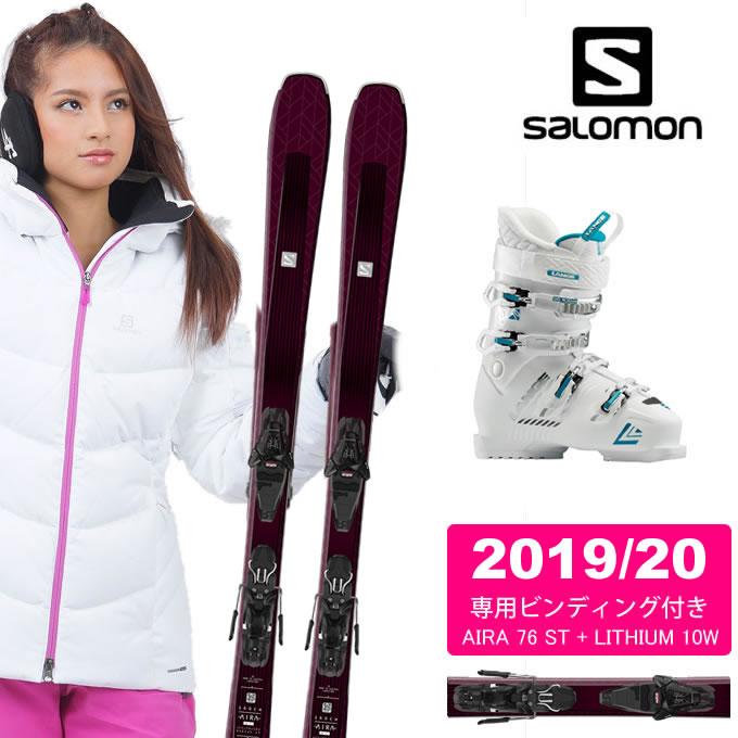 サロモン salomon スキー板 3点セット メンズ AIRA 76 ST + LITHIUM 10W + SX 70 W White -aquamarine スキー板+ビンディング+ブーツ