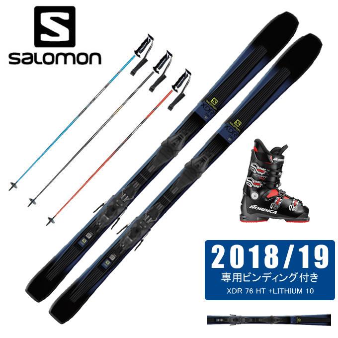 サロモン salomon スキー板 4点セット メンズ XDR 76 HT +LITHIUM 10 + SPORTMACHINE 80 + CX-FALCON