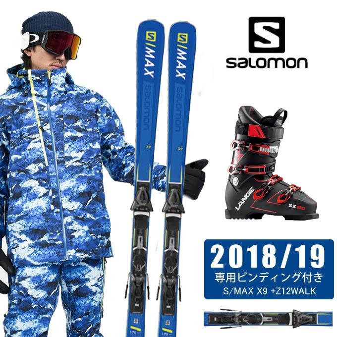 サロモン salomon スキー板 3点セット メンズ S/MAX X9 +Z12WALK + SX 90 tr. black-red スキー板+ビンディング+ブーツ