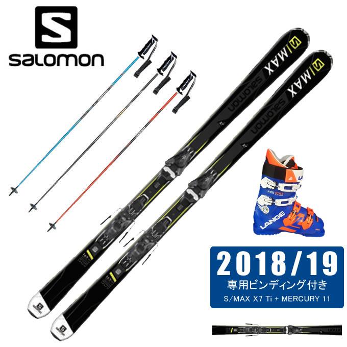 【18-19 2019モデル】【取付無料】【返品不可商品】 サロモン salomon スキー板 4点セット メンズ S/MAX X7 Ti + MERCURY 11 + RS 100 S.C.WIDE + CX-FALCON