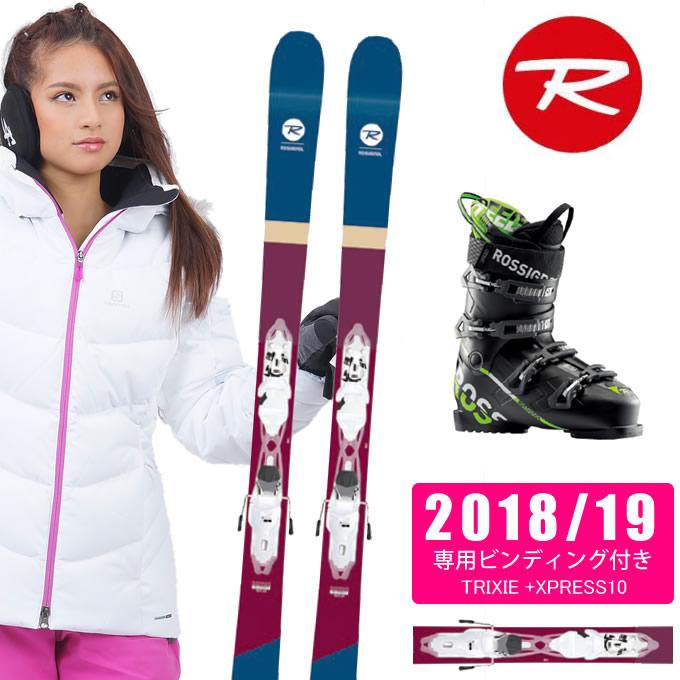 【クーポン利用で1000円引 11/18 23:59まで】 ロシニョール ROSSIGNOL フリースタイルスキー 板 3点セット レディース TRIXIE +XPRESS10 + SPEED 80 BLACK GREEN スキー板+ビンディング+ブーツ