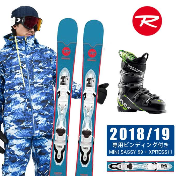 ロシニョール ROSSIGNOL FUNスキー板 3点セット メンズ MINI SASSY 99 + XPRESS11 + SPEED 80 BLACK GREEN スキー板+ビンディング+ブーツ